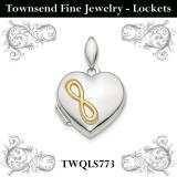 Sterling Silver Rhodium-plated & Gold-tone Inifinity Heart Locket