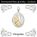 Sterling Silver Rhodium-plated & Gold-tone Bride & Groom Oval Locket