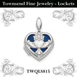 Sterling Silver Rhodium-plated Polished Claddagh Heart Locket