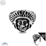 Stainless Steel 2-tone Native American/ Indian Chief Biker Mens Ring