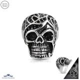 Stainless Steel 2-tone Ancient Guard Skull Biker Ring