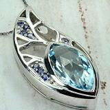 STERLING SILVER BLUE TOPAZ AND TANZANITE SET