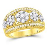 10K yellow gold wide flower cluster 1.0 carat diamond band.