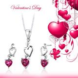 Sterling Silver Heart Shape Ruby Pendant Earrings Set