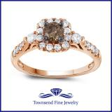 14K Rose Gold .77CTW COGNAC DIAMOND ENGAGEMENT RING